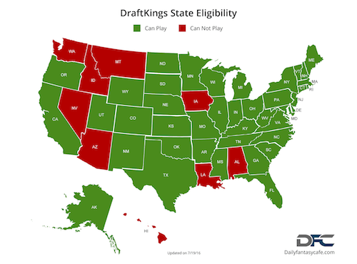DraftKings State Eligibility Map